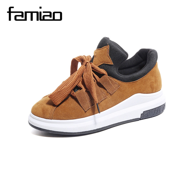 FAMIAO women causal shoes ladies rouund toe lace-up Platforms shoes canvas zapatillas deportivas mujer flip flops Espadrilles