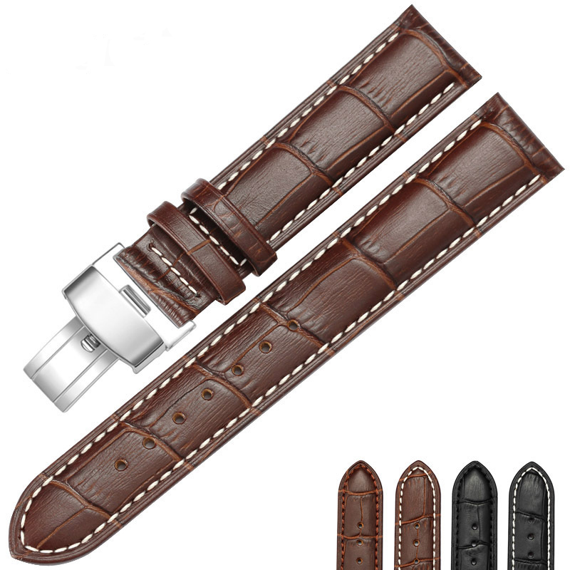 Hight Quality 20mm Watch Band Leather 22mm Men Women Brown Waterproof Watch Strap Genuine Steel Buckle Black Watchband 20mm buckle 16mm black brown high quality alligator leather watchband waterproof straps bracelets for brand luxury men watches