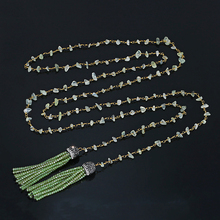 Pale Green Bohemian Long Necklaces 150cm Natural Prehnite Chips Bead Sparkling Crystal Tassel For Women