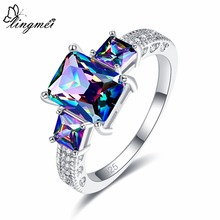 lingmei Cocktail Party Anniversary Rainbow Blue White Cubic Zircon Fashion Jewelry Silver Ring Size 6 7 8 9 10 11 12 Gifts 2018
