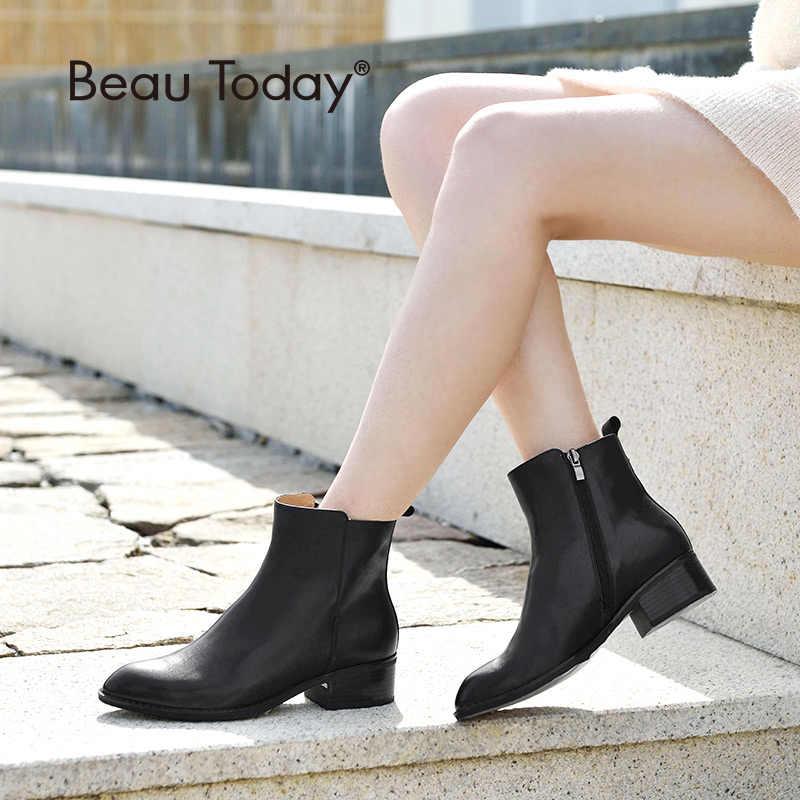 BeauToday yarım çizmeler Kadınlar En Kaliteli Marka Çizme Hakiki Inek Deri Sivri Burun Bayan Ayakkabıları El Yapımı 03230