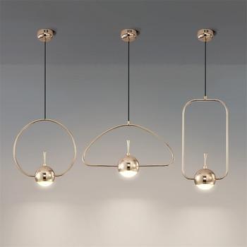 Postmodern Designer Pendant Lights Simple Home Deco Iron Art Gold Hanglamp Dining Room Kitchen Hanging Lamps Iron Art Line Lamps