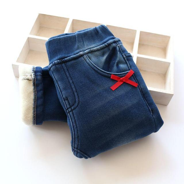2017 New Arrival Baby Girls Winter Denim Jeans Girls Thicken Warm Jeans High Quality Littte-bow Jeans  Kids Winter Long Pants