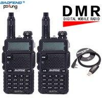 2 قطعة/الوحدة baofeng DM-5R زائد اتجاهين راديو vhf/uhf 136-174/400-480 ميجا هرتز ثنائي الموجات dmr الرقمية راديو اسلكية تخاطب الإرسال والاستقبال