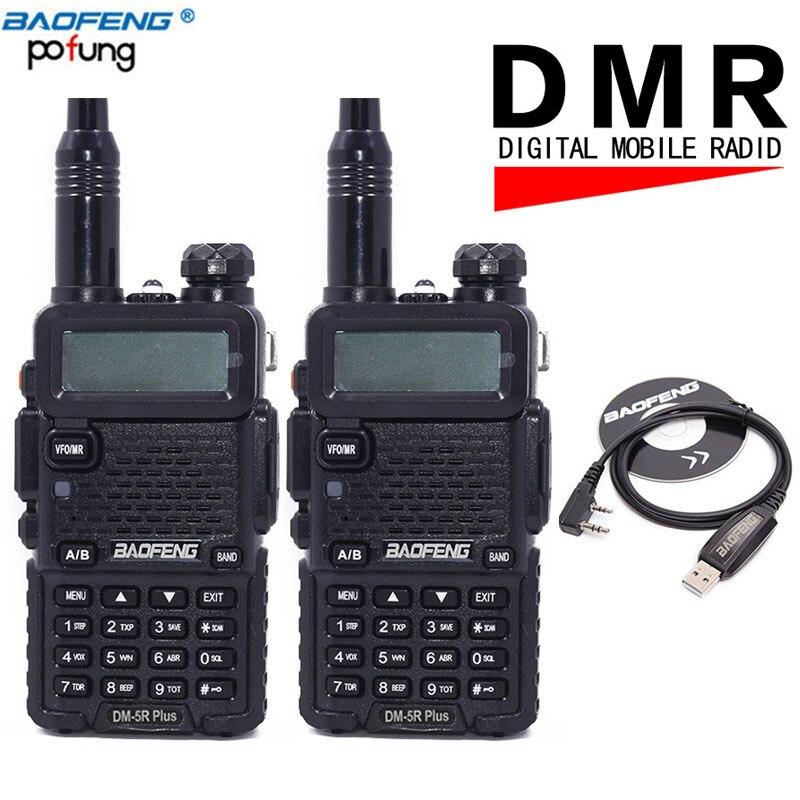 2 STÜCKE Baofeng DM-5R plus Zwei-2-wege-radio VHF/UHF Timer1 Dual Band DMR Digital Radio DM 5R 10 km Walkie Talkie Transceiver + usb kabel