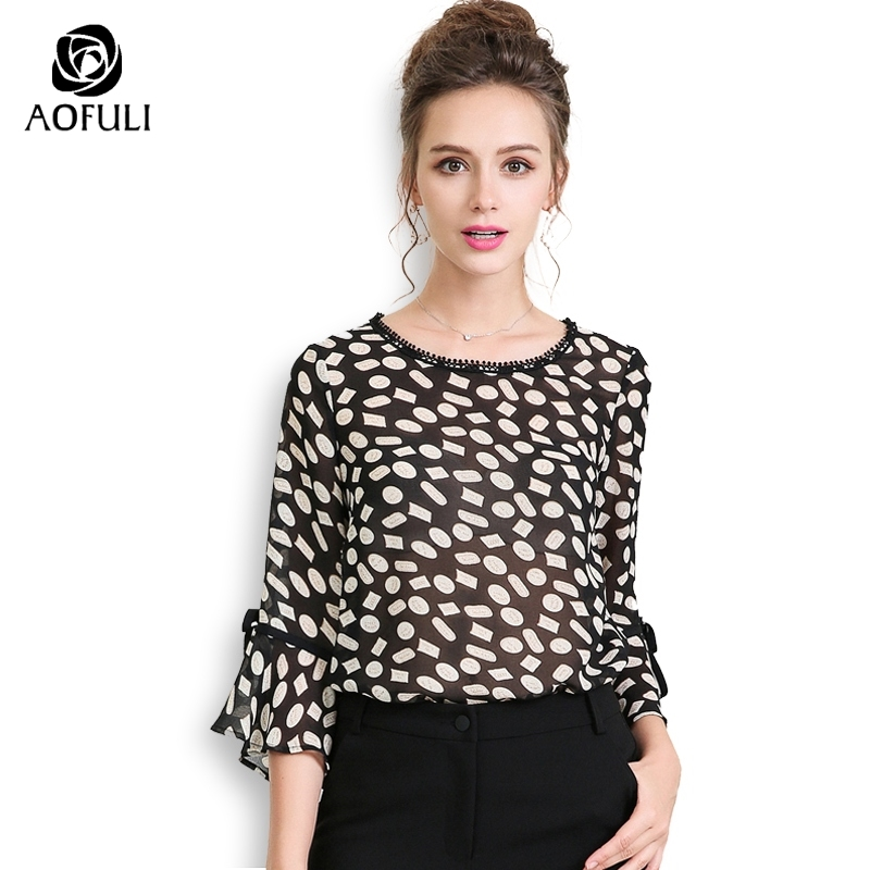 3496c0400b788 AOFULI Black Geometric Print Plus Size Women Blouse Shirt Three Quarter  Ruffles Sleeve Casual Chiffon Tops L- XXXL 4XL 5XL A3676