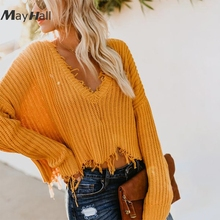 MayHall Drop Shoulder Knitted Long Batwing Sleeve Women Pullovers Sexy Short Sweaters Solid Autumn casacas para mujer MH360