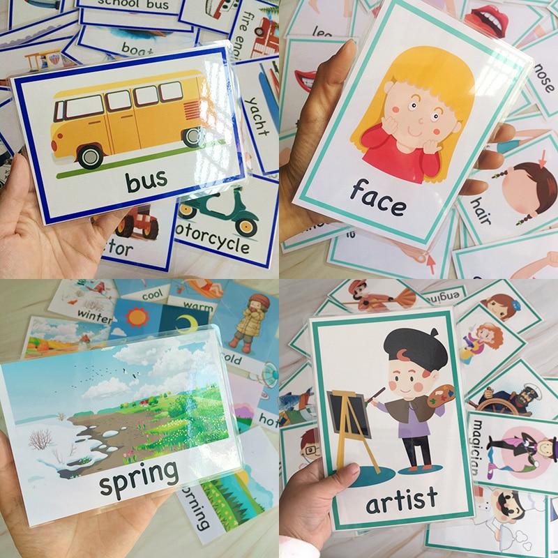 Crianças Bolso Palavra FlashCards Montessori Aprendizagem Brinquedos Educativos Para Crianças Jogo