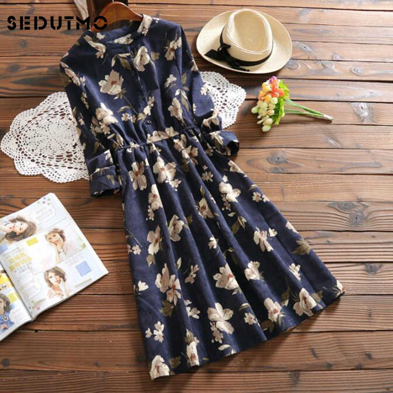 3699ad17962 SEDUTMO Winter Velvet Dress Women Tunic Shirt Dresses Sexy Floral Vintage  Fashion Warm Long Sleeve Party