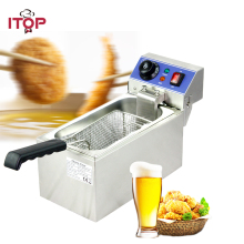 Commercial Gas Fryer Single tanks Fryer 6L Electric French fries machine Fry machine Frying pan 60-200 degree Deep Fryer electric 6l fryer commercial home use french fries commercial 2000w stainless steel countertop deep fryer single tank basket