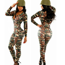 Long Sleeve Rompers Womens Jumpsuit Camouflage Body Suits for Women Plus Size Army Catsuit Combinaison Femme