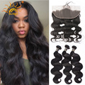 Preplucked Frontal Closure With 3 Bundles Peruvian Virgin Hair Body Wave With Closure Human Hair Lace Frontals With Baby Hair
