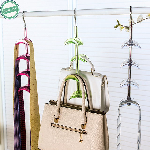 360 Rotate Swivel 4 Layer Handbag Hanger Stainless Steel Wide Curved  Plastic Rack Bracket Closet Accessory