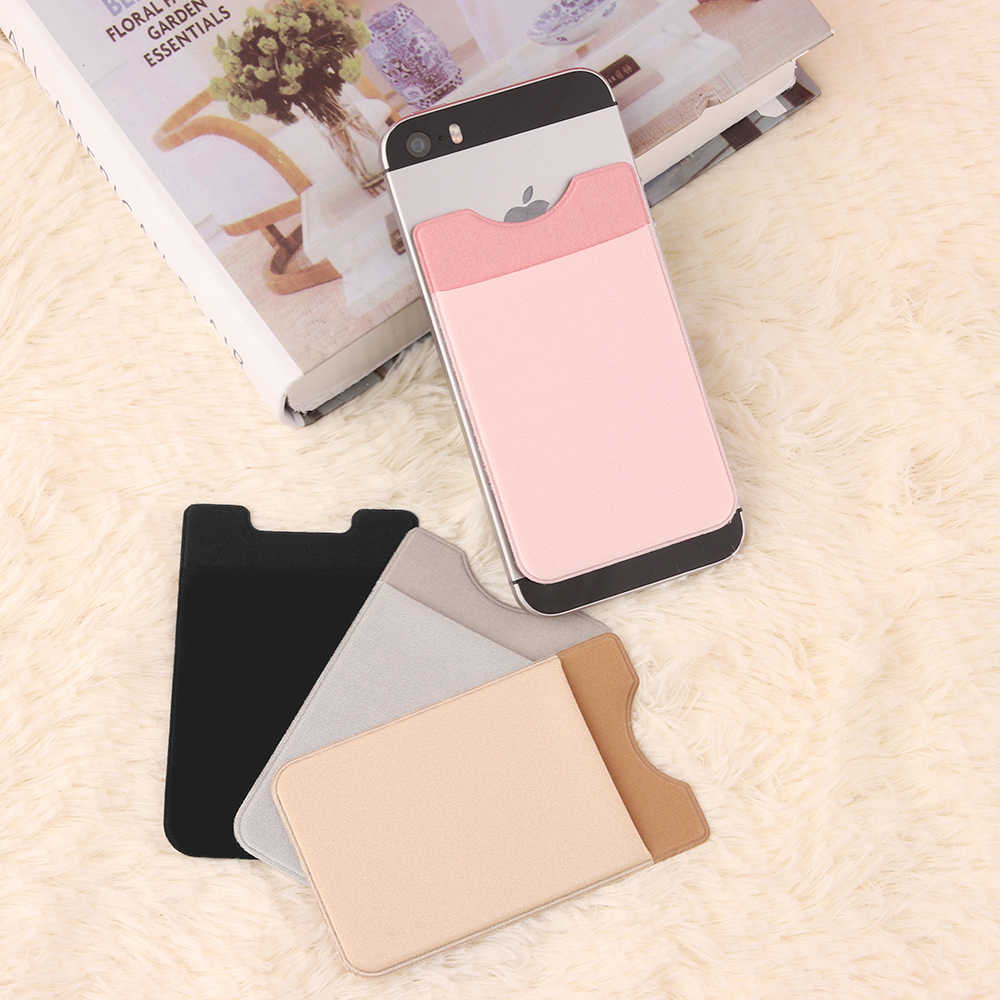 Women Fashion Elastic Lycra Cell Phone Wallet Case Credit ID Card Holder Pocket Stick On 3 M Adhesive Black/Gray/Pink/Golden