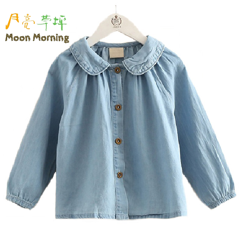 Moon Morning Kids Blouse Denim Cotton 2T~10T Solid Blue Children Clothes Long Sleeve Spring Autumn Peter Pan Collar Girls Filles