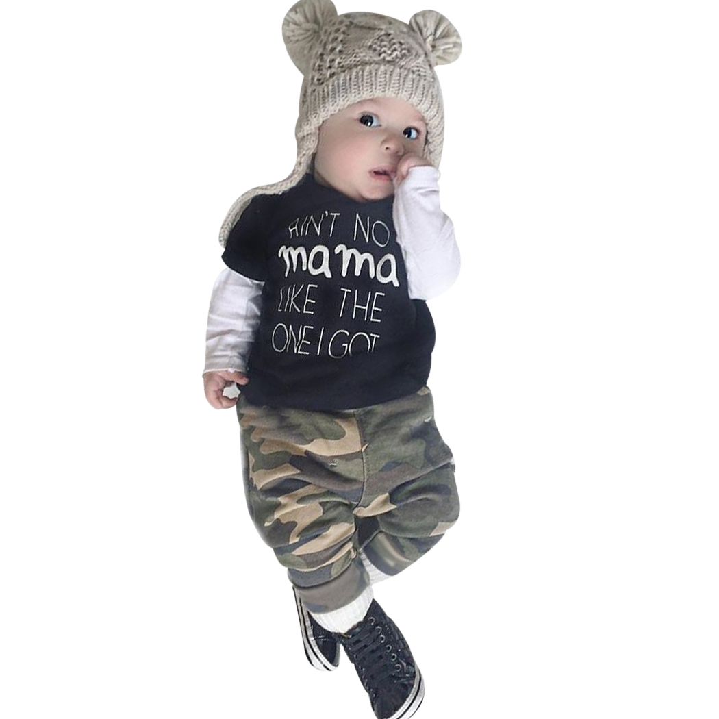 Baby Clothing Set 2018 Newborn Baby Boy Camouflage Outfit T-Shirt+Pants Leggings Children Clothes Set