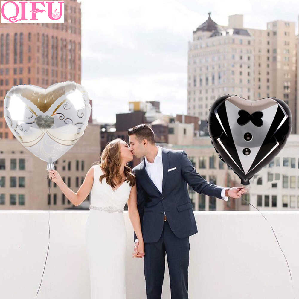 QIFU Bride and Groom Foil Heart Balloons Wedding Decor Wedding Balloons Aluminum Ballon Engagement Baloon Wedding Party Supplies