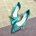 2017 New Black Red Green Satin Material Low Heel Pumps 5cm Pointed Toe Rhinestone Wedding Shoes Red Sole Shoes
