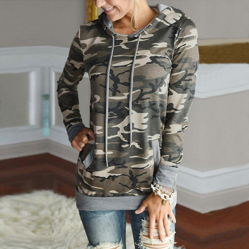 Women Hoodies Sweatshirts Hooded Camo Print Slim Fit Pullovers Casual Camouflage Basic Style Autumn And Winter 2018