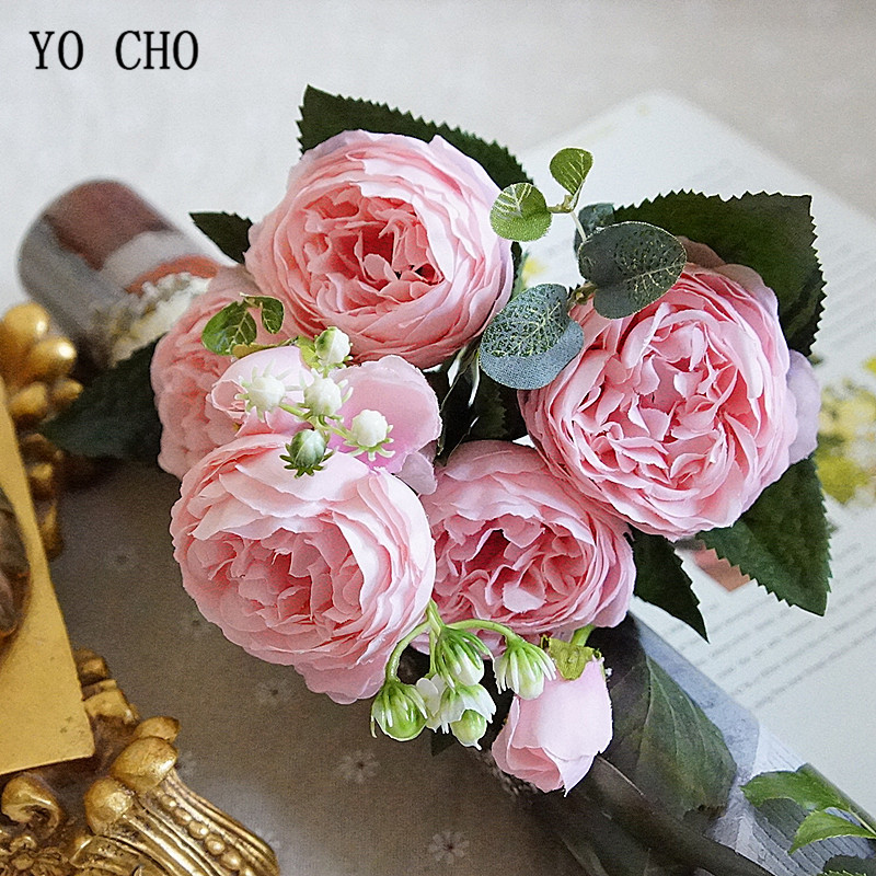 Beautiful Rose Peony Artificial Silk Flowers small bouquet flores home party spring wedding decoration mariage fake Flower (21)