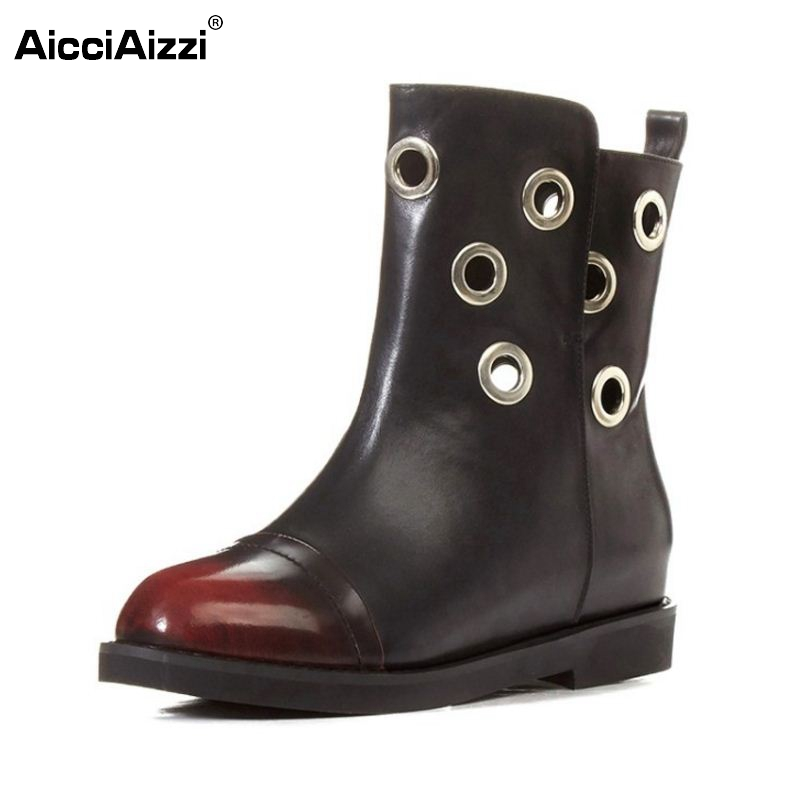 Size 33-42 Women Real Natrual Genuine Leather Half Short Boots Woman Round Toe Shoes Fashion Vintage Flat Martin Boots