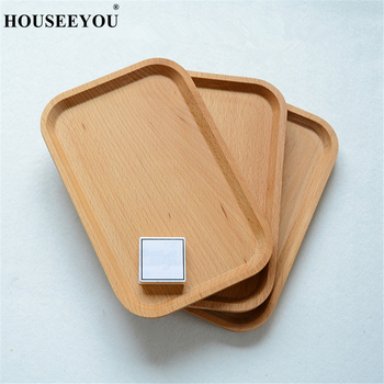 Solid Beech Wood Rectangular Dinner Plate Western Food Serving Trays Round Corners Snack Dessert Dish Container Storage