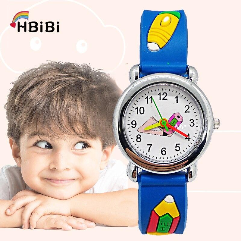 Top Brand HBiBi Luxury Kids Watches School Students Triangle Ruler Pencil Children's Watches Child Watch For Boys Girls Clock Q7