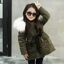 2017 Thickening Warm Fur Hooded Girls Students Winter Coat Solid Slim Child Winter Jacket For Girls Baby Kids Cotton Parka Down