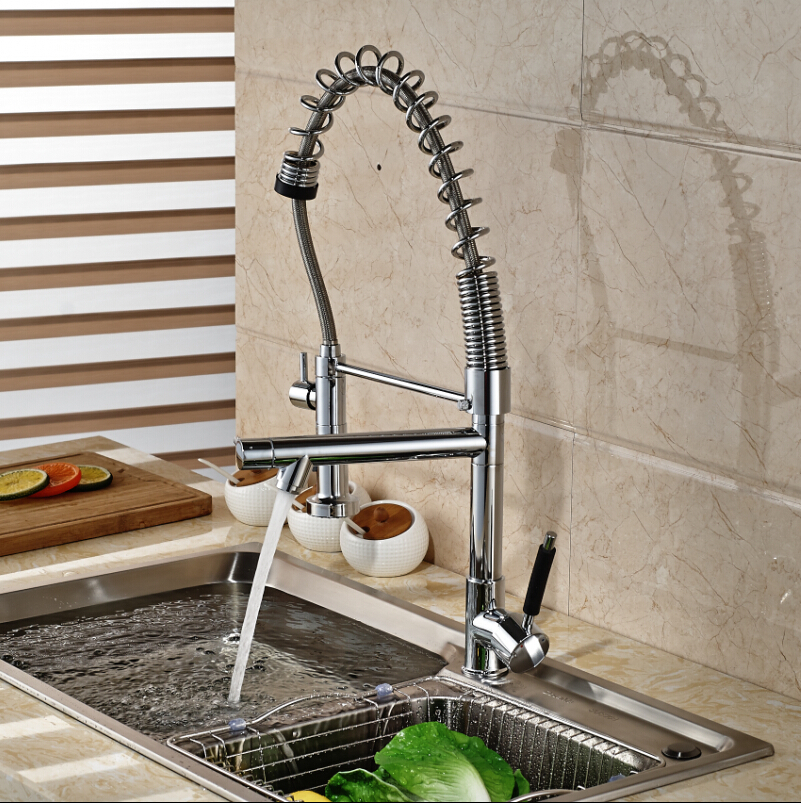 Chrome Finished Pull Out Spring Kitchen Faucet Deck Mount Swivel Spout Vessel Sink Mixer Tap Dual Sprayer wholesale and retail chrome finished pull out sink kitchen faucet swivel vessel sink mixer tap pull out crane kitchen mixer mjh8