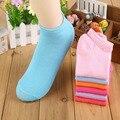 20 pcs = 10 pares/lote summer doce cor das mulheres meias de algodão barco meias para mulher meia tornozelo cor sólida fina chinelos meias