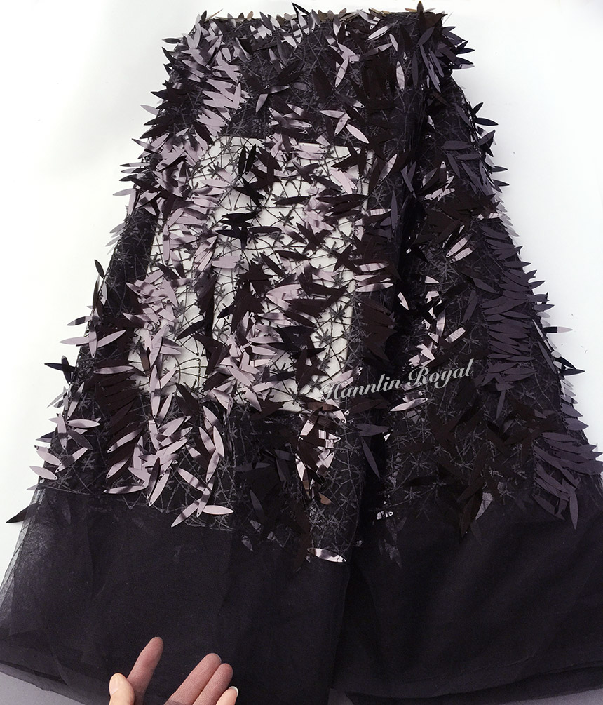 Pure black glittering tulle lace African french lace fabric 5 yards per piece with allover long
