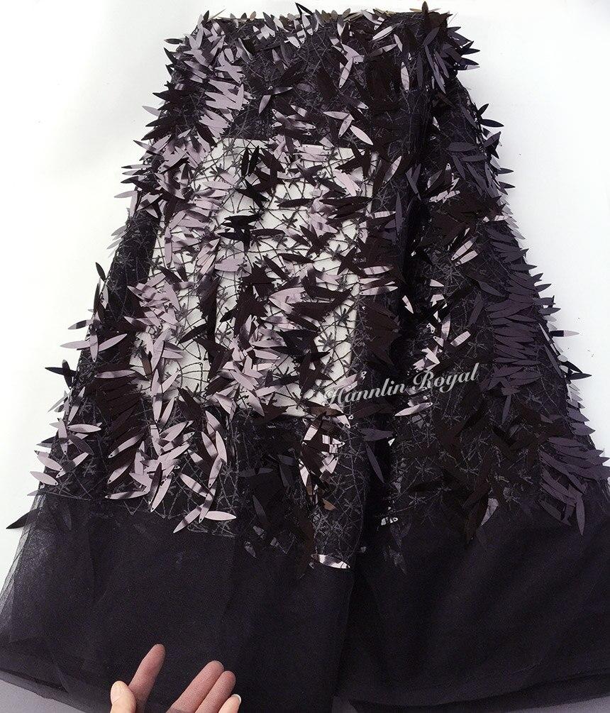 Ev ve Bahçe'ten Dantel'de Saf siyah pırıltılı tül dantel Afrika fransız dantel kumaş 5 yards ile parça başına allover uzun sequins sıcak satış'da  Grup 1