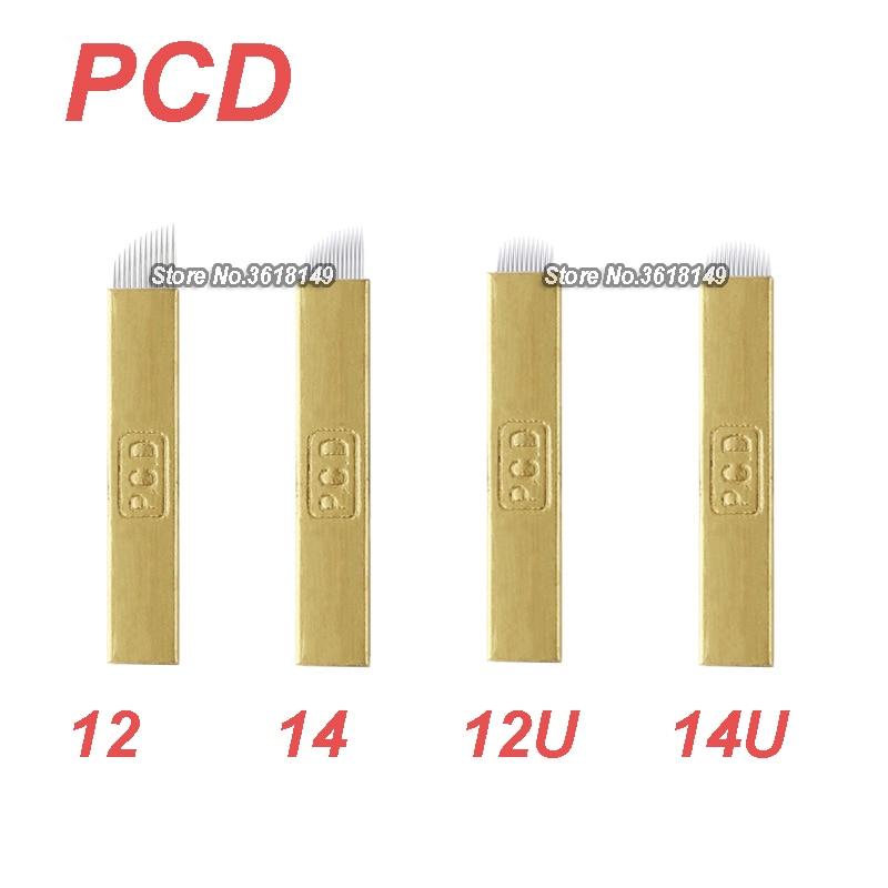 500Pcs PCD Microblading Lamina 12 12U 14 14U For Permanent Makeup Eyebrow Hard Tattoo Blades Manual Tattoo Pen 3D Embroidery