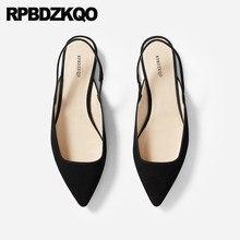 47be48841 Camurça preto respirável deslizamento em flats de couro genuíno chinês  slingback sapatos de grife 2018 pontas