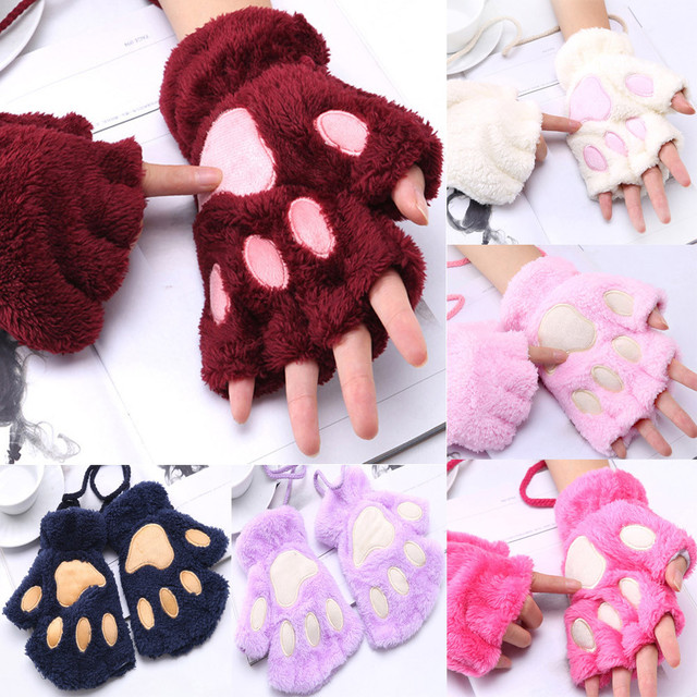 1 Pair Girls Lovely Fluffy Bear Cat Plush Paw Claw Half Finger Gloves 5
