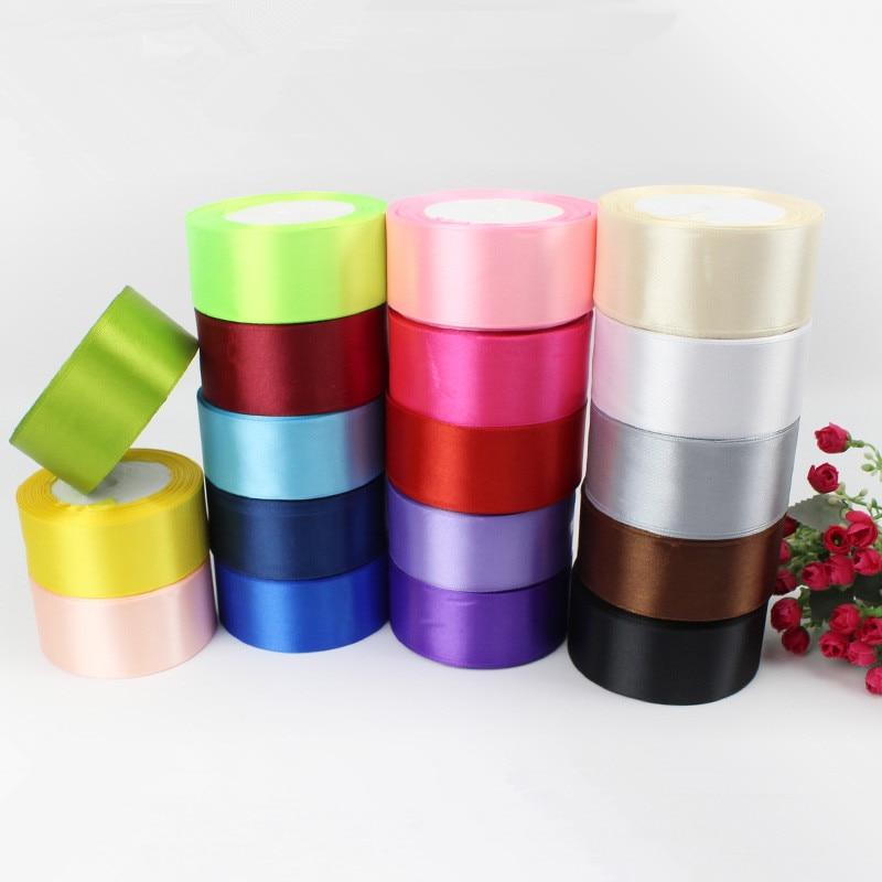 10 м 1-1/2 «(40 мм) много цветов сплошной цвет атласные ленты Свадебные декоративная подарочная коробка обертывание пояса DIY ремесла