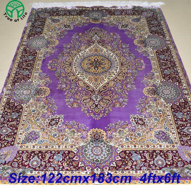 Superb Mingxin Carpet 4x6 Feet Purple Colour Hand Knotted Oriental Handmade Silk  Persian Carpet For Pray Rug Home Tapetes