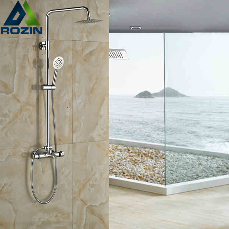 Modern Double Handle Shower Faucet Thermostatic Shower Set In-Wall 8