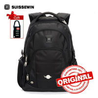 Suissewin Black Laptop Backpack Swisswin Backpack Large Capacity Nylon Men S Backpack Women Travel BackBag Sac