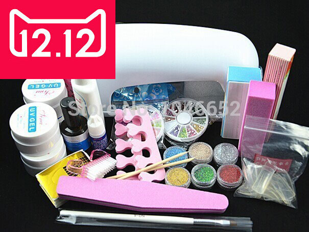 EM-77 Professional Full Set UV Gel Kit Nail Art Set + 9W Curing UV Lamp Dryer Curining  FREE SHIPPING em 128 free shipping uv gel nail polish set nail tools professional set uv gel color with uv led lamp set nail art tools