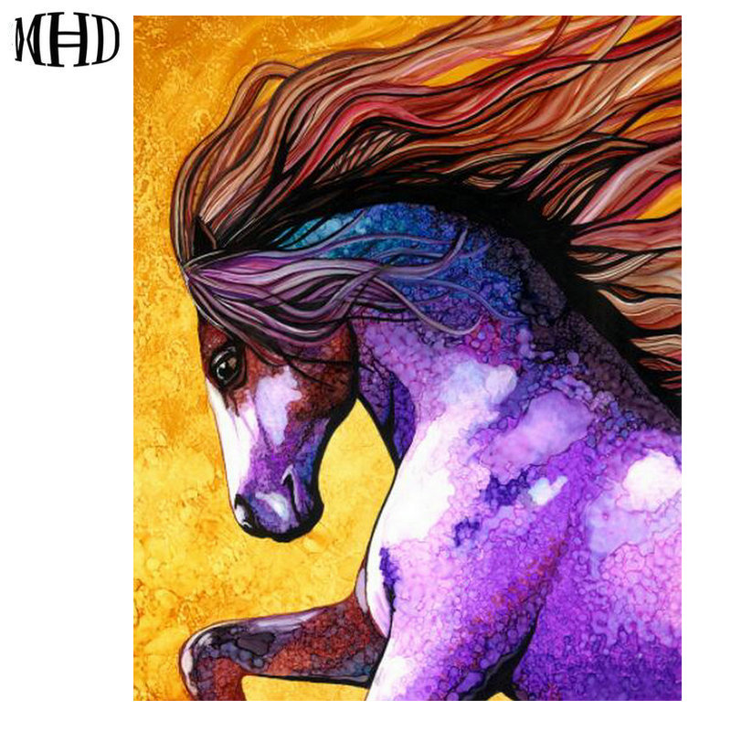 Full & Round Diamond Paintings Embroidered Horse, Wolf, Owl, Dog Picture Crystal Inlaid Diamond Cross Stitch Set Resin Crafts