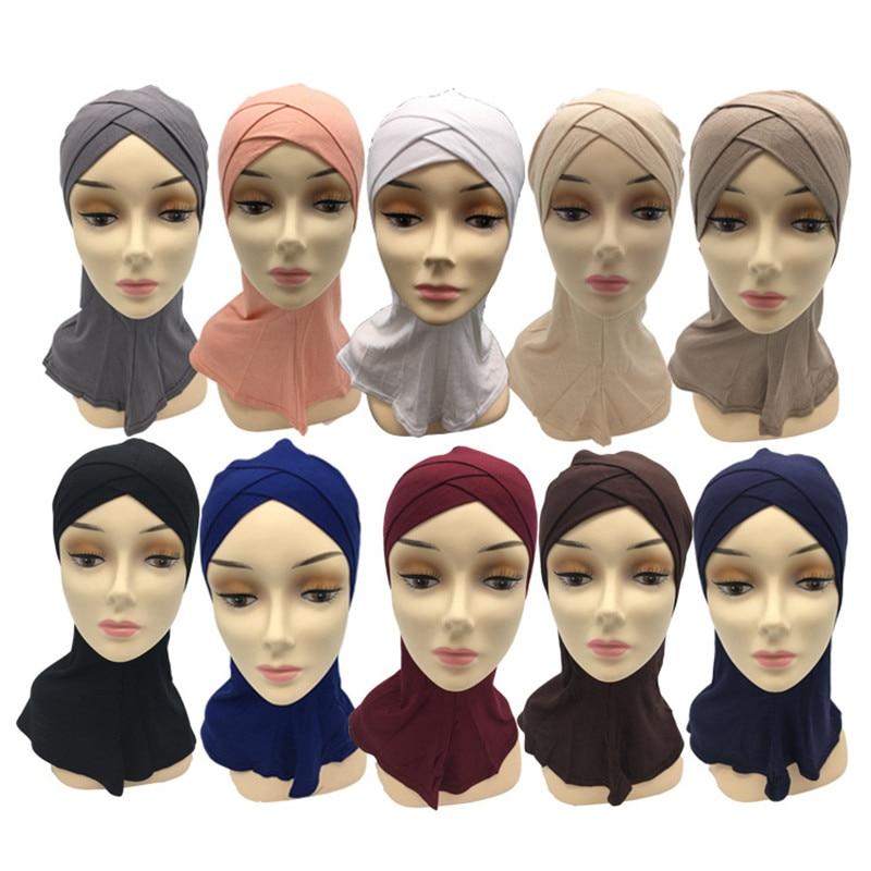 2019 Soft Muslim Full Cover Inner Hijab Cap Islamic Underscarf Neck Head Bonnet Hat Arab Headwear Wholesale