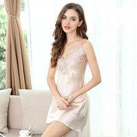 100% silk Sleepwear Women Summer sleeveless Mini Lace Split Dress Lounge Sleep shirts Female Sexy Pink Red dress Nightgown