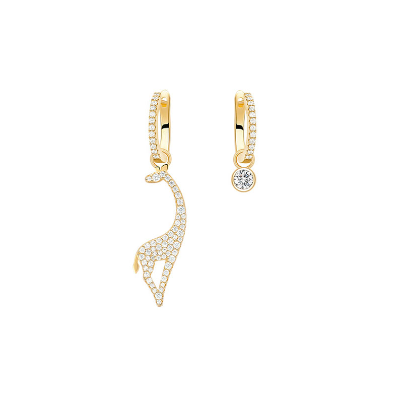 SLJELY S925 Sterling Silver Yellow Gold Color Asymmetry Giraffe Earrings Pave Cubic Zirconia Stones Women Fashion Brand Jewelry