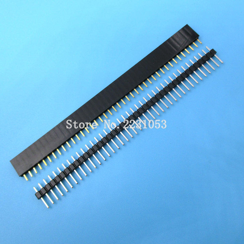 20PCS 10 Pairs 40 Pin 1x40 Single Row Male And Female 2.54 Breakable Pin Header PCB Connector Strip