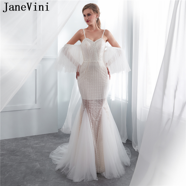 JaneVini Sexy Mermaid Tulle Bridesmaid Dresses with Detachable Sleeves Spaghetti Straps Sweep Train Ivory Lace Formal Prom Gowns