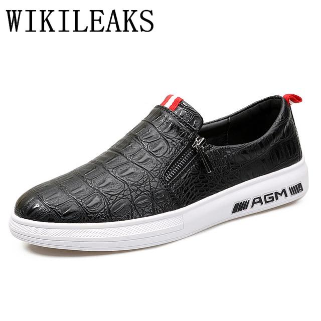 2018 moda nueva piel de cocodrilo zapatos para hombre casua lzapatillas hombre  tenis deslizamiento en zapatos 9ef2afd63d5