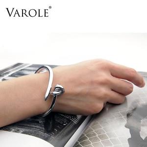 Image 2 - VAROLE Trendy Nail Knot Stainless Steel Cuffs Bracelets Noeud Gold Color Bangle Bracelet For Women Manchette Bangles Pulseiras