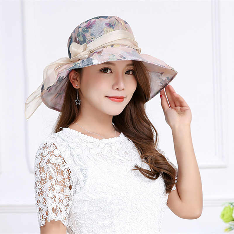 Summer Anti-UV Women's Sun Hat Bowknot Decor Flanging Printing Straw Hat Beach Caps Head Circumference Curved Brim Wind Cap