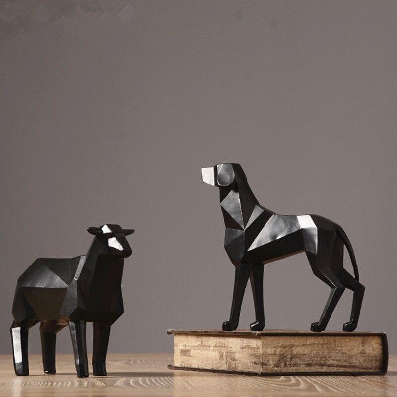 Style nordique présente moderne abstrait simple décoration de la maison résine artisanat en forme de diamant géométrique mouton animal modèle cadeaux